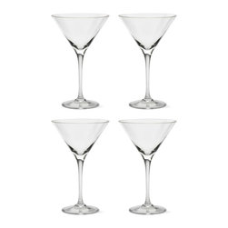 Tag Everyday - Bella Martini Glasses - Set of 4 - Includes 4 martini glasses. Crafted in europe. 100% lead-free crystalline. Made from a single piece of glass. High clarity and brilliance. Shape correct for specific drink. Color: Clear. 7.25 in. H x 4.625 in. dia (9.5 oz. capacity)