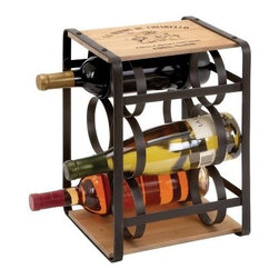 Woodland Imports La Maison Wood Planks & Brown Metal Frame 6 Bottle Wine Rack - Stow your finest wines in chic, country style with the Woodland Imports La Maison Wood Planks & Brown Metal Frame 6 Bottle Wine Rack. Sturdily crafted of solid hardwood with a naturally rugged finish and sleek metal interior, this compact wine caddy carries up to six full-size wine bottles.