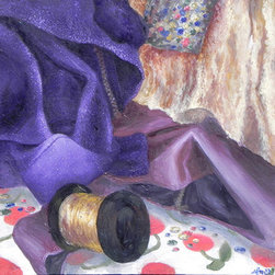 """Still-Life, Sequins And Cloth"" (Original) By Sarina  Mitchel - Part Of Improving As An Artist Is Painting From Observation. However, That Doesn'T Mean We Can'T Have Fun While Also Learning--Which Is Why In This Painting I Painted Sparkly Cloths And Sequins!"