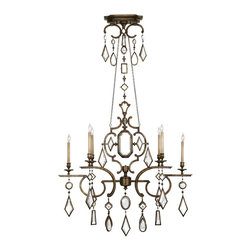 Fine Art Lamps - Fine Art Lamps 725940-3ST Encased Gems Silver Clear Crystal 6 Light Chandelier - 6 Bulbs, Bulb Type: 60 Watt Candelabra; Weight: 42lbs