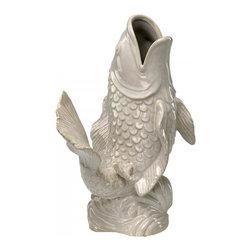 """Joshua Marshal - Gloss White Glaze 16"""" White Koi Fish Vase - Gloss White Glaze 16"""" White Koi Fish Vase"""