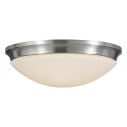 Murray Feiss - Murray Feiss Barrington Transitional Flush Mount Ceiling Light X-SB372MF - In a polished brushed steel finish for the curvaceous frame of Murray Feiss Barrington Transitional flush mount ceiling light, the lighting fixture transforms the room into an extraordinary one. It features an opal etched glass shade that provides a balance illumination for a cozy atmosphere. The ceiling light can easily complements any interior in the room.