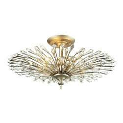 Elk Lighting - Elk Lighting 31431/3 Viva Transitional Semi Flush Mount Ceiling Light - Elk Lighting 31431/3 Viva Transitional Semi Flush Mount Ceiling Light in Aged Silver