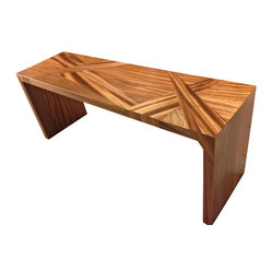 Vintbilt Design - Sappelle Prism Bench - If you love dramatic wood pieces, this bench features a unique wood design that works perfectly with modern decor. The structural sections are joined with large blind tenons for a seamless look. Clear varnish finish. Comes assembled, so you can find the perfect place for it the moment it arrives.