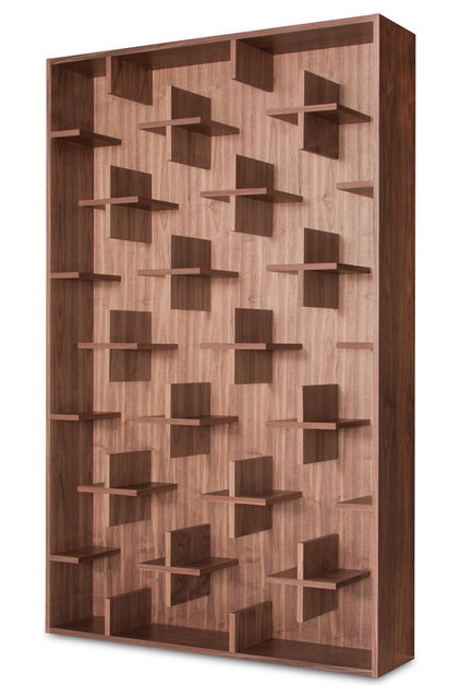 Contemporary Display And Wall Shelves  Cross Walnut Shelves