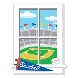 """RoomMates Peel & Stick - Play Ball Window Wall Decal - Play ball! You have a great view of the stadium with this fun wall decal. Each pre-cut sticker is shaped to look like a genuine window, allowing you to add a """"view"""" to any room. Application is easy: just peel the element from the liner and smooth it on the wall, no pressing or rubbing necessary. If you want to reposition the design, simply peel it from the wall and apply it elsewhere. You can move the decal around as often as you like, and apply it to any flat surface. This clever design is certain to add fun to any bedroom or playroom!"""