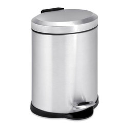 5L Oval Stainless Steel Step Can - Honey-Can-Do TRS-01448 Oval Stainless Steel Step Trash Can. A contemporary addition to any home or office, this 5L (1.3 gallon) trash can is the perfect size for a bathroom or home office and boasts sturdy construction for daily use. A steel foot pedal provides hands-free operation to keep germs at bay. A plastic inner trash bucket is fully removable for easy emptying and cleaning. The brushed stainless, hand print resistant exterior is easy to clean and features a plastic fold down carrying handle.