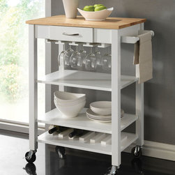 Coaster - 910025 Kitchen Cart - This kitchen cart is available in white and natural or black and cherry. Crafted from solid rubberwood, it features a butcher block for easy food preparation. This cart offers function with its towel rack, wine bottle holders, stemware rack and casters for mobility.