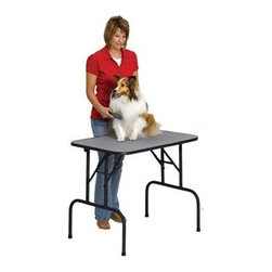 """Midwest Homes For Pets - 36"""" Grooming Table - Grooming tables and accessories are unique tables exclusively designed for pets. Made from durable materials and fine finishing, this is definitely the kind of pet grooming table that you can't afford to miss. Midwest grooming tables are very rigid, sturdy and easily setup. These grooming tables can also be accessorized with grooming arm, security loop and a universal grooming table shelf where you can place your dog's other things. Features: -Sturdy & Durable 3/4"""" Birch Plywood Top. -Easy to Clean & Maintain Ribbed Rubber. -""""No-Slip"""" Rubber Working Surface . -Fully Welded, Durable Black E-Coat. -Folding Tubular Legs Provide Maximum Stability. -1"""" Charcoal Gray Vinyl Trim Molding to Protect Clothing . - 30"""" H x 24"""" W x 36"""" D."""