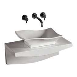 Whitehaus Collection - Whitehaus WHKN1078-1116 Ceramic Bathroom Basin with Wall Mount Counter - Whitehaus Collection bathroom sinks are modern sleek and stylish. A great option for anyone that wants a unique and eye catching bathroom design!