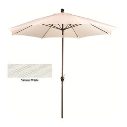 None - Fiberglass Natural White Poly Crank and Tilt 9-foot Umbrella - Keep cool in the shade of this handsome 9-foot fiberglass umbrella. This unique and durable patio furniture features a beautiful Poly fabric and boasts a convenient push tilt mechanism.