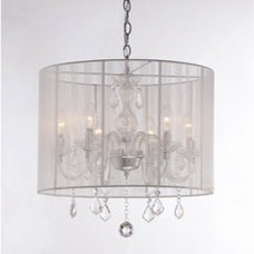 Chandeliers Emma white Shade and Iron Base Crystal Chandelier
