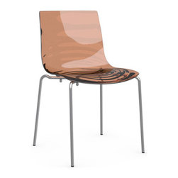 Calligaris - L'EAU Chair, Chrome Frame, Transparent Orange, Set of 2 - A lipid pool or melting amber — imagination lives in these colorful and luminous chairs. With a smooth acrylic seat and modern chrome base, its colors are the star, punching up any space with a strong dose of whimsy.