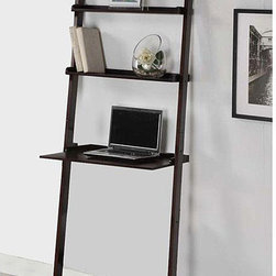 None - Cappuccino 3-tier Leaning Ladder Shelf - This brown wood leaning ladder shelf has three tiered shelves for you to use. You can also use the bottom shelf as a laptop desk. At 72 high and 25 wide,this shelf will provide a unique and durable solution for storage in your home.