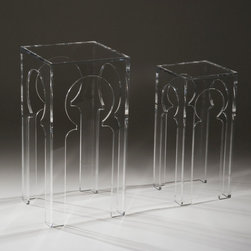 """Clearly Classic Collection - Tangier Tables (Large & Small) in Clear - The Tangier Table resembles a (miniature) triumphal arch in Morocco. The exoticism of North Africa is present in its design, yet it feels like a contemporary reinvention of that iconic style. Mod and mesmerizing, the Tangier Table will give any room that added dash of romantic shimmer. Made of ½"""" acrylic, the table comes in two sizes."""