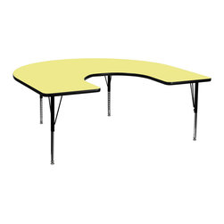 Flash Furniture - Flash Furniture 60 x 66 Horseshoe Activity Table w/ Yellow Thermal Fused Laminat - Flash Furniture's Pre-School XU-A6066-HRSE-YEL-T-P-GG warp resistant thermal fused laminate horseshoe activity table features a 1.125'' top and a thermal fused laminate work surface. This Horseshoe Shaped Laminate activity table provides a durable work surface that is versatile enough for everything from computers to projects or group lessons. Sturdy steel legs adjust from 16.125'' - 25.125'' high and have a brilliant chrome finish. The 1.125'' thick particle board top also incorporates a protective underside backing sheet to prevent moisture absorption and warping. T-mold edge banding provides a durable and attractive edging enhancement that is certain to withstand the rigors of any classroom environment. Glides prevent wobbling and will keep your work surface level. This model is featured in a beautiful Yellow finish that will enhance the beauty of any school setting. [XU-A6066-HRSE-YEL-T-P-GG]