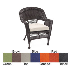 Jeco - Espresso Wicker Chair/ Cushion (Set of 4) - With durable,all-weather resin wicker over a powder-coated steel frame,this chair is built to withstand anything life throws your way. Resin wicker is flexible and fade-resistant,which means it stays like new season after season.