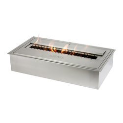 "Ignis - EB2100 Ethanol Fireplace Burner - Design your own fireplace, any way you like it, with the help of this EB2100 Ethanol Fireplace Burner Insert. This ethanol fireplace burner insert allows you to let your imagination soar, since it can be used in a number of ways to bring the power of ethanol heat into your home. It is specially designed to allow for a longer burn time and a lower cost of fuel, and since it's ventless, you don't have to worry with the traditional fuss and mess of a regular fireplace. It requires no gas lines, no electric lines, and no chimney. This burner comes with a three-year warranty, and is the ideal size to stick into your existing wood-burning fireplace for cleaner air and more earth-friendly use. Dimensions: 22 1/4"" x 12"" x 4 1/2"". Ventless - no chimney, no gas or electric lines required. Easy or no maintenance required. Capacity: 10 Liters. Approximate burn time - 8 hours per refill. Approximate BTU output: ~ 23000. Double Layer."
