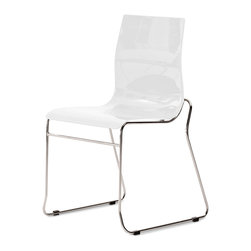 DomItalia Furniture - Gel-T Stackable Dining Chair in White (Set of 2) - Made in Italy, the Gel-T Stackable Dining Chair in White (Set of 2) is stackable up to four chairs high, for easy cleaning and storage.