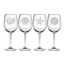 Susquehanna Glass - Seashore All Purpose Wine Glass, 19oz, S/4 - Each 19 ounce wine glass features a different sand etched emblem of the sea, including a fan shell, star fish, sand dollar and nautilus shell. Dishwasher safe. Sold as a set of four. Made and decorated in the USA.