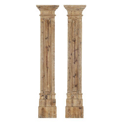 Paragon Decor - Rustic Columns Set of 2 - Carved Wood Wall Sculpture features a natural wood finish.
