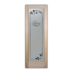 Sans Soucie Art Glass - Pantry Door Grape Ivy Melany Etched Glass, 28 X 1.375 X 80 - Pantry Door - Grape Ivy Border, Melany Font  - Quality, hand-crafted sandblast etched glass.