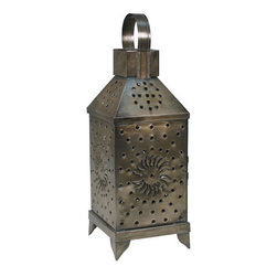 Mexican Artisans - Mexican Punched Tin Lantern - Tin is in — especially this lovely lantern. Hand-crafted in Mexico, it lends a rustic appeal to your decor and features a punched-dot design to cast a pattern out of candlelight.