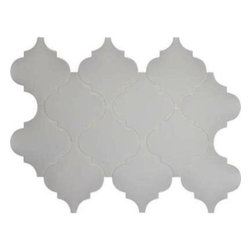 Tilesbay.com - Sample of 8mm Whisper White Arabesque Ceramic Ceramic Tile - Whisper White Ceramic Mosaic Wall Tile, it's easy to add a splash of contemporary styling to your decor. This attractive tile features arabesque patterned pieces of Ceramic arranged on a 15.5 in. x 10.8 in. mesh sheet that makes installation a much easier process. With elegant bright white shades, this glossy ceramic creates a distinct pattern for various install projects in bathrooms, kitchens and other residential or commercial spaces.