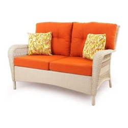 Charlottetown White All-Weather Wicker Patio Settee with Rust Cushions - This is a really nice-looking wicker settee at an amazing price.