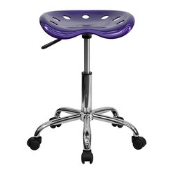 Flash Furniture - Flash Furniture Vibrant Chrome Stool and Tractor Seat in Violet - Flash Furniture - Drafting Chairs - LF214AVIOLETGG - On the market for a stool but want to add a little color to your home or office? This sleek modern stool conforms to several areas in the home or office. The molded tractor seat offers great comfort. The small frame design of this backless stool makes it easy to maneuver around tight spaces with ease. This stool can be used for a variety of reasons other than just at a desk and is offered at a very affordable price. [LF-214A-VIOLET-GG]