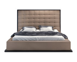 Modloft - Ludlow Wenge Platform Bed | Taupe Leather, Queen - The natural leather headboard seamlessly blends into its matching leather base with a wood border along the bottom edge. Platform height measures 14 inches (3 inch inset).