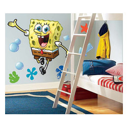 RoomMates Peel & Stick - Spongebob Giant Wall Decal - Bring everyone's favorite spongey friend to your wall with this giant spongebob squarepants wall decals. At 30 in. tall this decal is perfect for the bedrooms of boys girls and spongebob fans of any age. Applies easily to any flat surface and can be removed and reused in a snap! Be sure to check out the coordinating wall decals for a complete spongebob room makeover