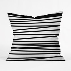 Crossover Throw Pillow Cover - Play with pattern and a simple color scheme by dressing your pillows with this throw pillow cover. The striking, uneven black lines stand out against the cover's white backdrop and won't overpower your existing décor. Featuring a double-sided print with a concealed zipper, it's the perfect accent for your living room or bedroom.