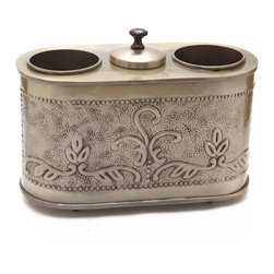 """Old Dutch International - Antique Embossed """"Victoria"""" 2 Bottle Wine Chiller - Add panache to your next party with this pewter-finished wine chiller. It holds two of your best bottle at the perfect temperature and has a covered vessel for ice too."""