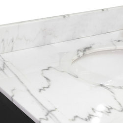 Bellaterra Home - Backsplash-white marble-39 in - Natural Carrara white marble