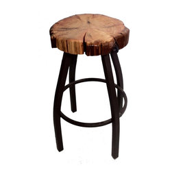"Crafted Woods - Ancient Bristlecone ""Metal meets Wood"" Bar Stool - Nicknamed ""Metal meets Wood"".  The bases are metal powder coated with a bronzed finish and the seats are hand sculpted for a more comfortable seat."