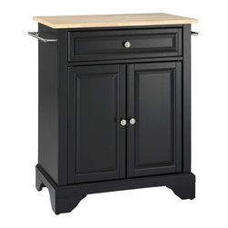 Crosley - LaFayette Natural Wood Top Portable Kitchen Island in Black Finish - Constructed of solid hardwood and wood veneers, this kitchen island is designed for longevity. The Beautiful raised panel doors and drawer front provide the ultimate in style to dress up your kitchen. The deep drawer are great for anything from utensils to storage containers. Behind the two doors, you will find an adjustable shelf and an abundance of storage space for things that you prefer to be out of sight. Style, function, and quality make this kitchen island a wise addition to your home.