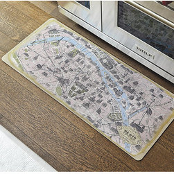 Ballard Designs - Vintage Paris Map Comfort Mat - Medium size great for double sinks. Ideal for kitchen, wet bar or bathroom. Machine wash. With this graphic comfort mat, you'll have all of Paris at your feet. The vintage map design features all of our favorite landmarks, from Eiffel Tower to Notre Dame. The spongy rubber back is extra thick, so you can stand, prep and cook in comfort for longer periods.Vintage Paris Map Comfort Map features: .  . .