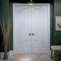 New European door - TruStile TS3040 common arch pair in MDF with low profile (LP) sticking and double hip (D) panel