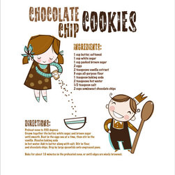 Luca & Company - Artwork - Chocolate Chip Cookies - The Classic Recipe collection is perfect for the family who loves to cook. This series is not only for children-these prints would be lovely in any kitchen. Highly regarded graphic illustrator Rachel Riorden and mother of twins designed the collection. Her wonderfully fresh, unique and colorful artwork will add instant boost to any decor. These timeless pieces of Artwork for your child are offered in limited runs and created for your child to appreciate for years to come.  Artwork is printed on durable 16 x 20 canvas and is ready for hanging.