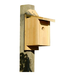 Heartwood - Chickadee Joy Box Bird House - This  beautiful  birdhouse  is  the  perfect  addition  to  any  home  or  garden  of  your  choice.  Season  after  season,  this  delightful  nesting  box  is  a  joy  to  behold  and  a  breeze  to  maintain  thanks  to  the  easy  twist  latch  and  side-front  panel  that  also  inverts  for  winter  roosting.  Rugged  construction  features  13/16  solid  cypress  and  headed  ring  shank  stainless  steel  nails.  This  bird  house  is  one  you  are  sure  to  enjoy  in  the  years  to  come.  Also  sized  for  all  variety  of  residents.                  5-1/2x8x13              1-1/8  hole              Handcrafted  in  USA  from  renewable,  FSC  certified  wood