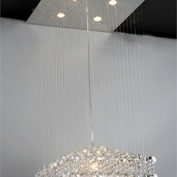Warehouse of Tiffany - Maria Crystal Chandelier - This brilliant modern crystal chandelier from Maria is an excellent way to add dynamic lighting to your dining area or entry. It features cascading crystals that will reflect light all over the room, and it has a chrome finish for added beauty.