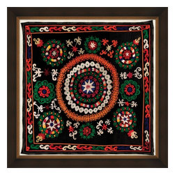 Wendover Print - Uzbek Silk V - This striking Giclee on Paper print adds subtle style to any space. A beautifully framed piece of art has a huge impact on a room for relatively low cost! Many designers and home owners select art first and plan decor around it or you can add artwork to your space as a finishing touch. This spectacular print really draws your eye and can create a focal point over a piece of furniture or above a mantel. In a large room or on a large wall, combine multiple works of art to in the same style or color range to create a cohesive and stylish space! This striking image is beautifully framed in rubbed espresso with gold.