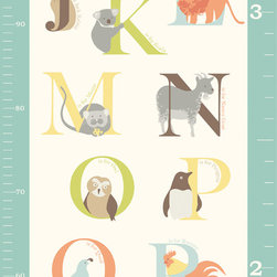 "WallPops - ABC Jungle Growth Chart Wall Decal - Which animal is your favorite? An anteater, a butterfly, a cat? Or perhaps a snail, a turtle or a unicorn? With animals for every letter of the alphabet from A to Z, and a growth chart in inches and centimeters, this peel and stick nursery decal is both an educational item and a precious piece of wall art. This WallPop Comes on 3 13"" x 17.25"" Sheets and contains 3 Pieces Total. WallPops are repositionable and always removable."