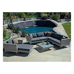 Ibis 8-Piece Modern Patio Sectional Set, Charcoal Cushions