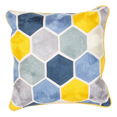 """Jaipur Rugs - Blue/Yellow color cotton encasa05 poly fill pillow 18""""X18"""" - En Casa is the design collection of Cuban born, Queens, NY raised painter and surface designer, Luli Sanchez. This collection is based off of her painterly works of art that capture an organic and moody yet optimistic spirit. Her geometric paintings were truly inspiring for this pillow collection."""