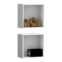 Nexera - Nexera BLVD Wall Cubes, Set of 2 - BLVD Wall Cubes will add the final touch to your room setting and complete it with additional decorative storage. Sold in pair (2 units), organize your BLVD wall shelves in any way you like to create your own personalized home decor. BLVD Collection from Nexera proposes modular and flexible combinations for your entertainment room, home office area and bedroom. On top of all its smart features, the whole collection also features quality melamine and textured lacquer surfaces, solid metal or full extension slides and adjustable levelers.