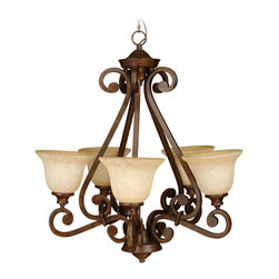 Craftmade - Craftmade Toscana Traditional Chandelier X-5RP8219 - This Craftmade chandelier from the Toscana Collection features elegant traditional style complimented by rich, earthy finishes. The eye-catching scrollwork has been finished in a beautiful Peruvian Bronze hue complimented by five antique scavo glass shades that pull the look together.