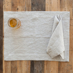 Huddleson Linens - Natral Undyed Linen Placemat (Set of Four) - Huddleson Linens - Sometimes there can be no better backdrop than the finest natural Italian linen. The patina of undyed pre-washed natural flax provides the understated luxury that makes everything sing out. These pre-washed linen placemats are perfect for everyday dining or to dress the table for a special occasion. Ever versatile, they look beautiful with any style or pattern of napkin or china. Machine washable, these placemats get even softer and more beautiful with use. You're only committing to making mealtimes a little more special.