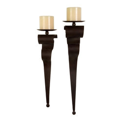 iMax - iMax Candleholders X-2-87501 - Simple and sophisticated iron wall candle sconces